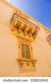 Noto, Sicily, Italy. Fragment of the facade of the palace of Nicolaci de Villadorata, 1731.