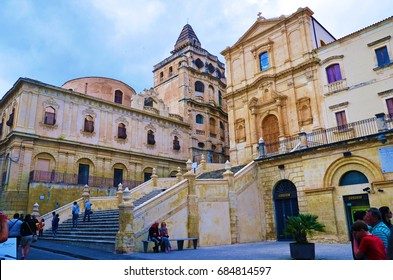 NOTO, SIRACUSA, ITALY APRIL 25: Church of Saint Francis of Assisi to the Immaculate Constructed between 1704 and 1745 - April 25 2017,Noto, Siracusa, Italy