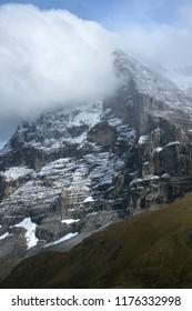 The notorious north face of the Eiger in Berner Oberland, Grindelwald, seen from Kleine Scheidegg