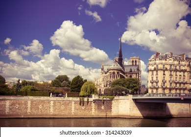 Notre Dam and the Seine river. Instagram style filtred image