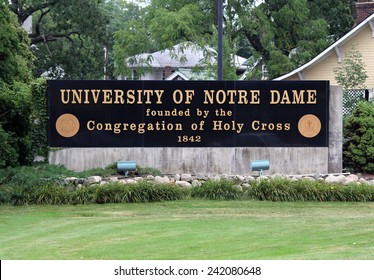 NOTRE DAME, IN - AUGUST 1: An entrance to The University of Notre Dame located in Notre Dame, Indiana on August 1, 2014. Notre Dame is a Catholic research university located near South Bend, Indiana.