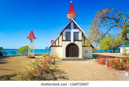 Notre Dame Auxiliatrice church at Cap Malheureux. Mauritius