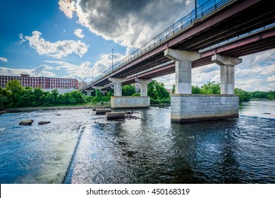 The Notre Dame Bridge over the Merrimack River, in Manchester, New Hampshire.