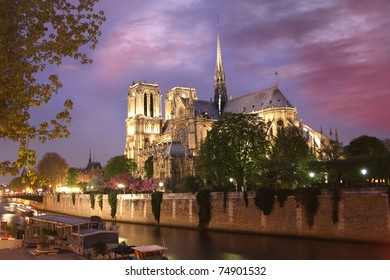 Notre Dame cathedral  at evening, Paris, France