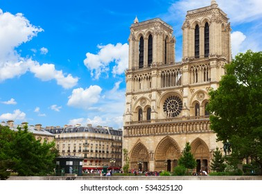 Notre Dame cathedral facade in Paris, France