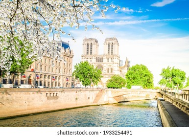 Notre Dame cathedral on Cite island over the Seine river, Paris cityscape at spring, France - Shutterstock ID 1933254491