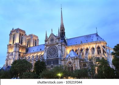 Notre Dame Cathedral in Paris France at dusk
