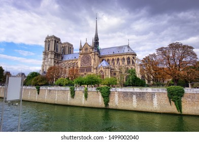 Notre Dame cathedral in Paris, France. dark clouds