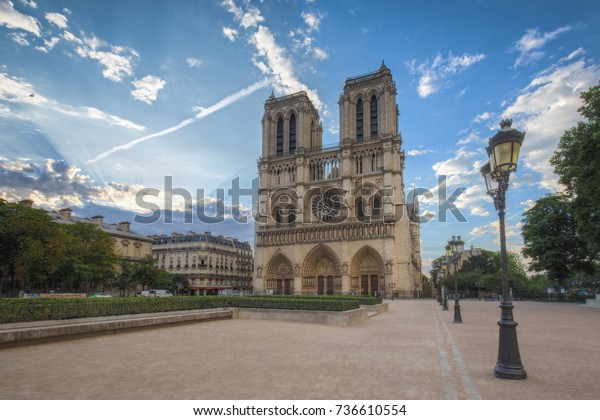 Notre Dame Cathedral Paris France Sunrise Stock Photo Edit Now