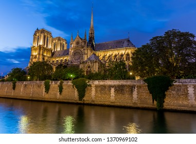 Notre Dame cathedral in Paris at night