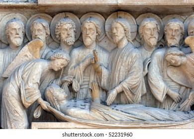 Notre Dame Cathedral, Paris. The Portal of the Virgin. Death of the Virgin Mary