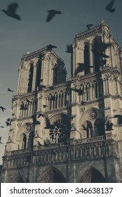 Notre Dame cathedral at sunset and flying (blurred) black birds in the sky (Paris, France). Soul metaphor. Toned photo.