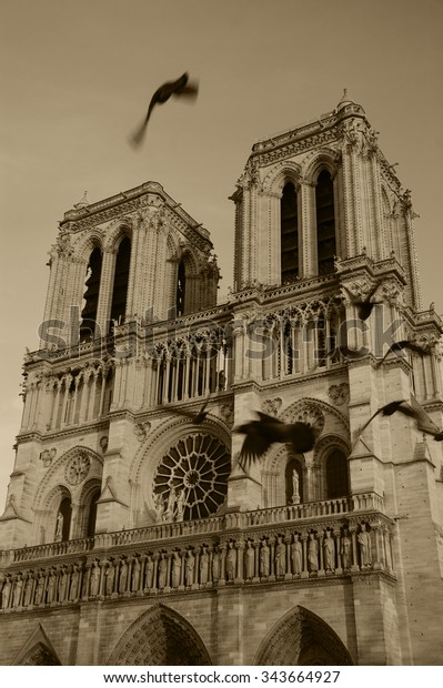 Notre Dame Cathedral Sunset Flying Blurred Stock Photo Edit