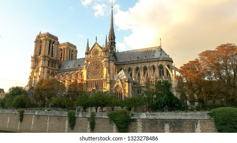 notre dame cathedral at sunset in paris, france