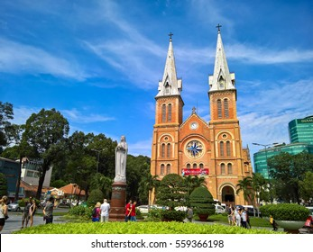 Notre Dame Cathedral (Vietnamese: Nha Tho Duc Ba), build in 1883 in Ho Chi Minh city, Vietnam. HOCHIMINH CITY (SAI GON), VIET NAM - January 18, 2017