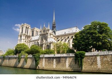 Notre Dame Church in Paris, along Seine River