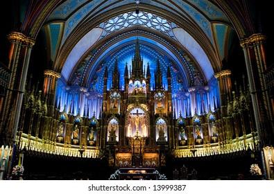 Notre Dame De Montreal interior with altar