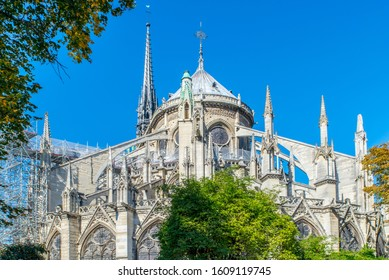 Notre Dame de Paris cathedral before destroyed by fire, France. French gothic architecture church with gargoyles statues and chimeras