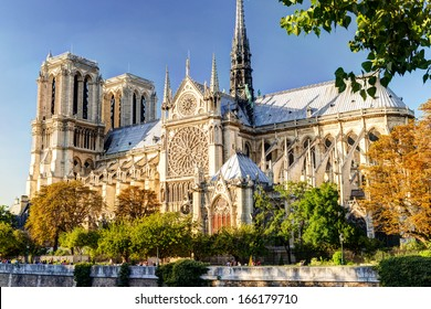Notre Dame de Paris cathedral, France. Gothic architecture in summer. - Shutterstock ID 166179710