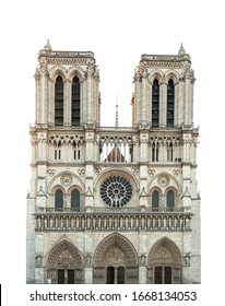 Notre Dame de Paris Cathedral isolated on white background. French Gothic architecture - Shutterstock ID 1668134053