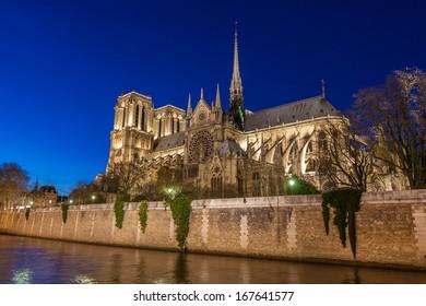 Notre Dame de Paris Cathedral at night.