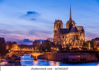 Notre Dame de Paris Cathedral at night.