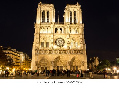 Notre Dame de Paris cathedral at night is one of the most visited places in Paris