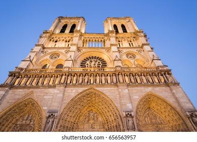 Notre Dame de Paris Cathedral, Illuminated facade at night