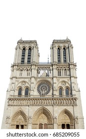 Notre Dame de Paris central main facade, national monument cathedral of France. French Gothic architecture. isolated on white background and copy space.