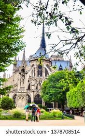 Notre Dame de Paris Close-up beautiful details. The whole cathedral of Notre Dame before the fire. Paris France June 20, 2018