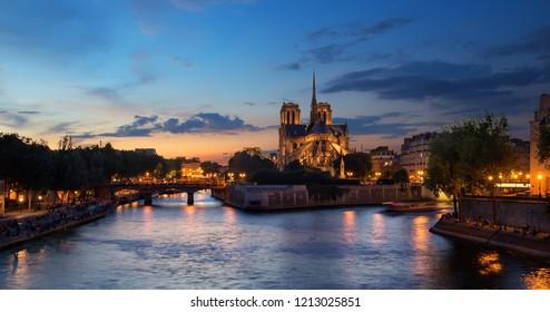 Notre Dame de Paris in the evening, France