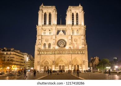 Notre Dame de Paris - famous cathedral with night illumination