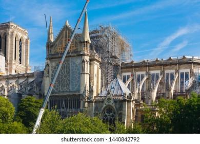 Notre Dame de Paris. Paris. France. After the fire. Beginning of reconstruction. Sunny morning.