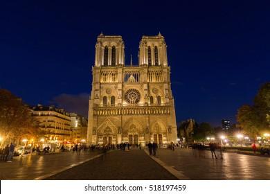 Notre Dame de Paris in Paris, France, at night