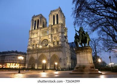 Notre Dame de Paris, France at dusk