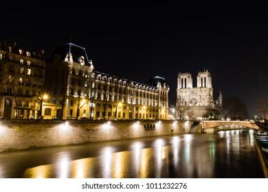 Notre Dame de Paris in night time, France