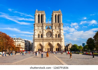 Notre Dame de Paris or Notre-Dame Cathedral is a medieval Catholic cathedral in Paris, France. Some people are with blurred faces.