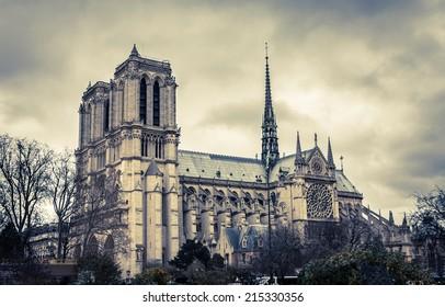 Notre Dame de Paris at snowless winter, Paris, France