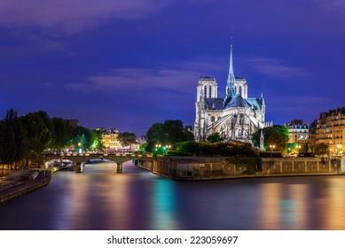 Notre Dame de Paris at Twilight, France