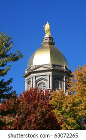 The Notre Dame Golden Dome in Fall