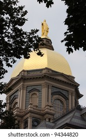 The Notre Dame Golden Dome in the summer months up close