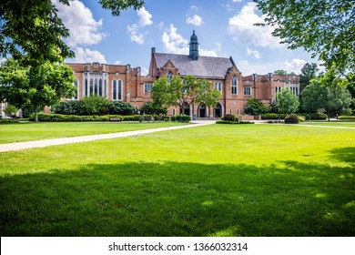 Notre Dame, IN, USA - July 1, 2018: The inside premises of the campus and garden