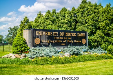 Notre Dame, IN, USA - July 1, 2018: A welcoming signboard at the entry point of the campus
