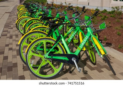 NOTRE DAME, IN/USA - OCTOBER 19, 2017: Stand of Limebike Bicycles on the campus of Notre Dame University.