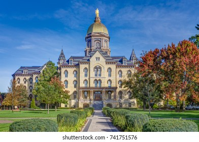 "NOTRE DAME, IN/USA - OCTOBER 19, 2017: Main Administration Building known as the ""Golden Dome"" on the campus of Notre Dame University."
