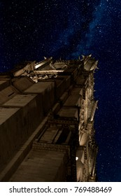 Notre Dame at night. Paris under the light of stars. Low angle view