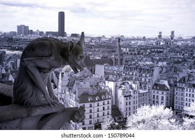 Notre Dame of Paris, Gargoyle most famous of all Chimeras, overlooking the skyline of Paris