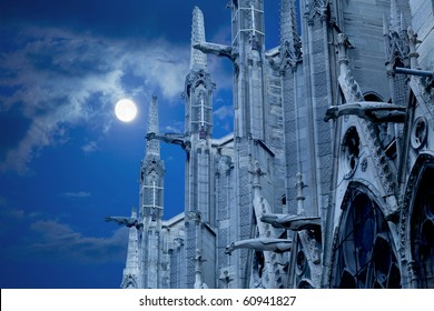 Notre Dame of Paris, North facade against the moon