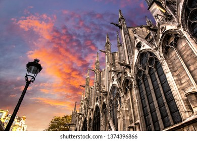 Notre-Dame Cathedral at dramatic sunset, Paris, France