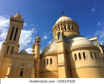 Notre-Dame d'Afrique Basilica, Algiers, Algeria - October 12, 2016: Watching up the old basilica.